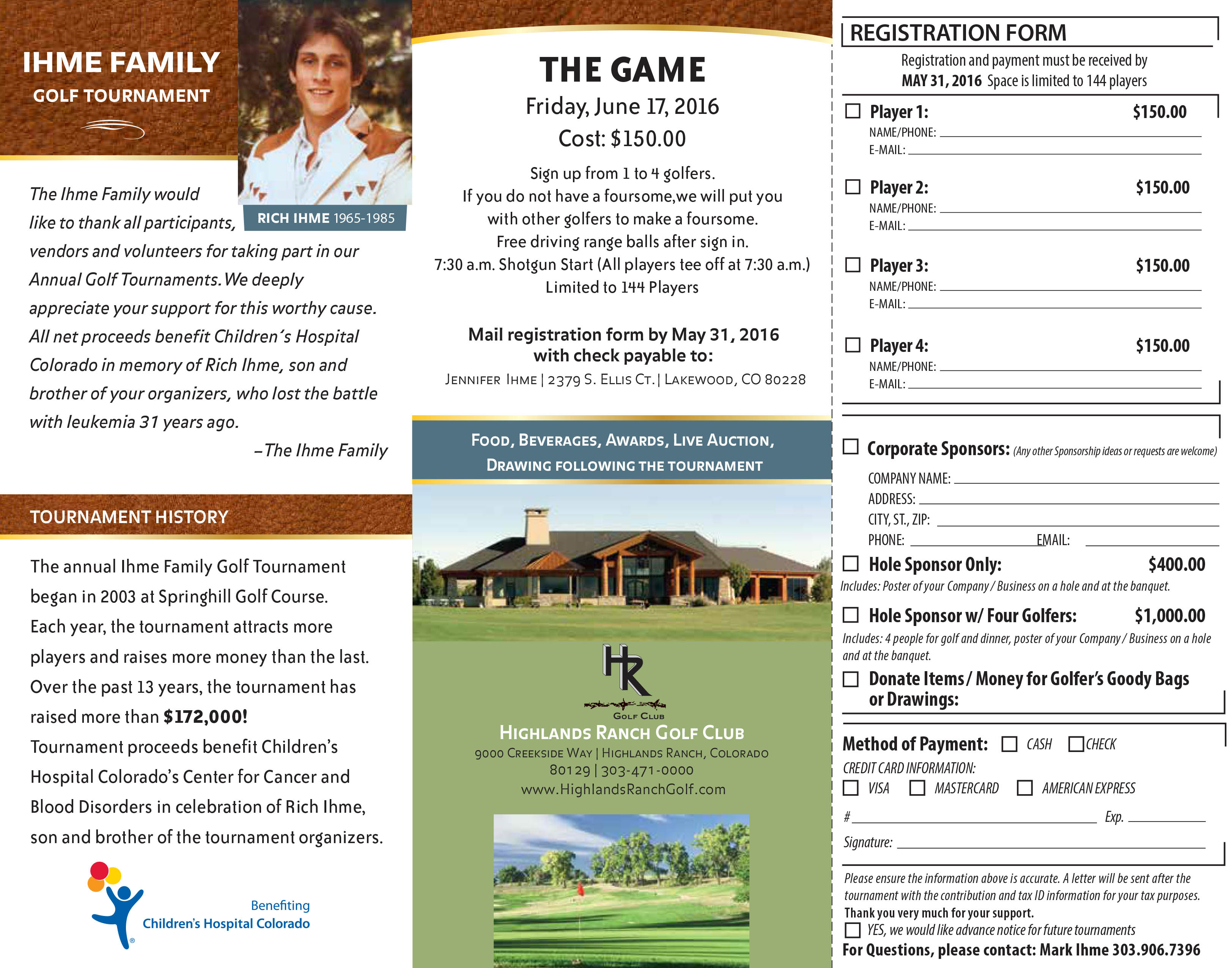 2016 Annual Ihme Golf Tournament