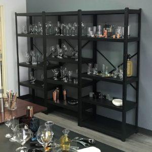Glassware on 3 Shelves